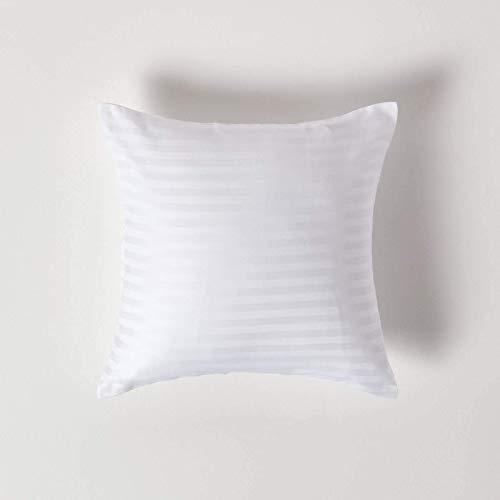 Homescapes Kissenbezug 40 x 40 cm weiß – 100% Reine ägyptische Baumwolle Fadendichte 330 mit Satin-Streifen – Kissenhülle mit Reißverschluss