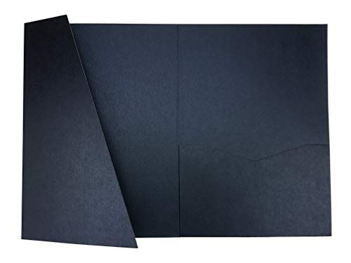 OakPo Paper Co Navy Blue A7.5 Card Cover Tri-fold Pocket Invitations for Weddings, Birthdays, Greeting Cards - 25 pcs