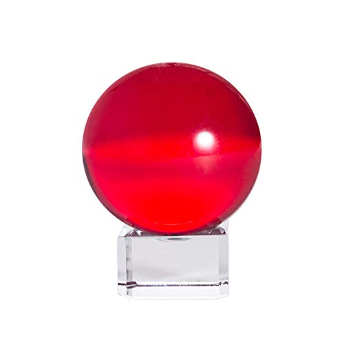 LONGWIN 50mm(2 inch) K9 Crystal Ball with Free Stand Suncatcher (Red)