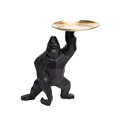 King Kong Gorilla Bandeja De Almacenamiento De Decoración Soporte De Joyería Decoración De Animales Resina Tazón De Llaves Bandeja De Almacenamiento De Baratijas Pequeña Decoración,Negro