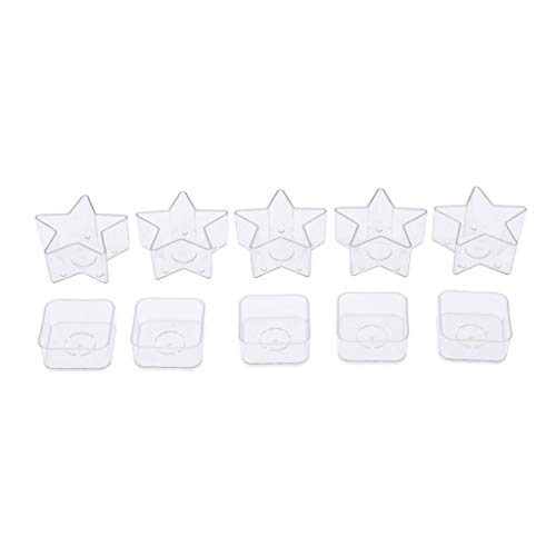 MagiDeal 10Pcs Square Star Shape Clear Plastic Tealight Cup Candle Containers