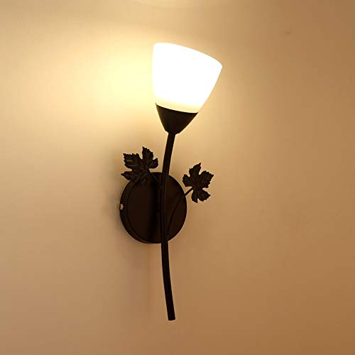 LG Snow Luz De Noche Led Dormitorio Lámpara De Noche Pasillo Creativo Pasillo Sala TV Lámpara De Pared (Color : Black Single Head)
