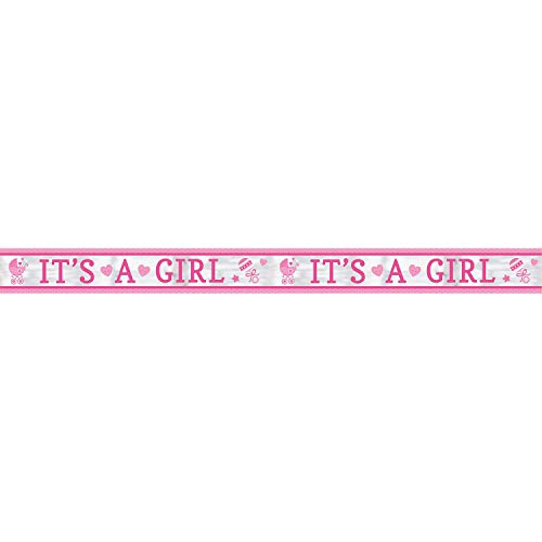 Amscan 120187 foliebanner It's a Girl baby shower, roze