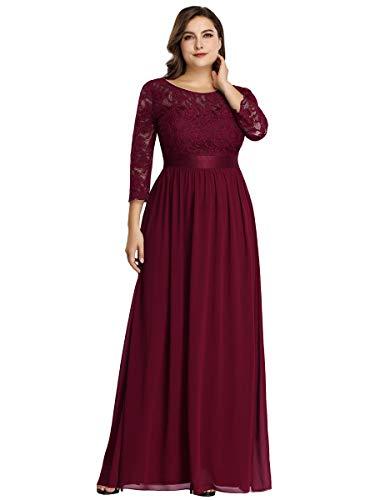 Ever-Pretty Vestiti da Cerimonia Donna Linea ad A Pizzo Chiffon Girocollo Manica Lunga Taglie Forti Abiti da Damigella Borgogna 36