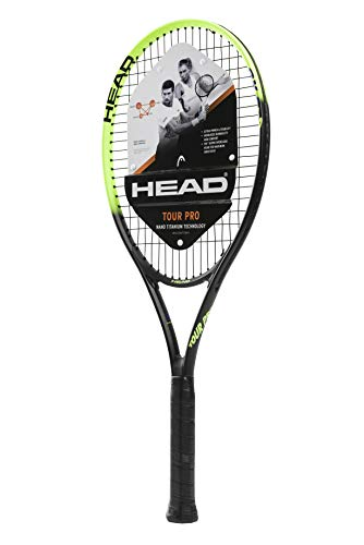HEAD Tour Pro Tennis Racket - Pre-Strung Head Light Balance 27 Inch Racquet - 4 3/8 In Grip, Yellow