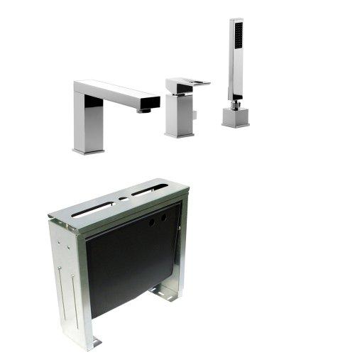 Komplettset 3-Loch Designer Wannenrandarmatur und Montageblock 3-Loch Armatur Wannenarmatur Modell