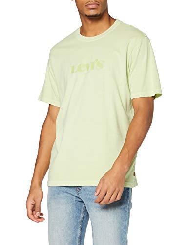 Levi's Herren Sleeved Relaxed Fit Tee T-Shirt, Short Sleevenl Mv Logo Garment Dye Shadow Lime, M