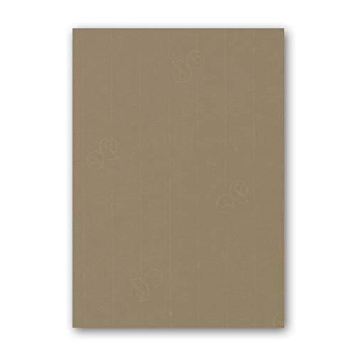ARTOZ 50x Briefpapier - Taupe DIN A4 297 x 210 mm - Edle Egoutteur-Rippung - Hochwertiges Designpapier Urkundenpapier