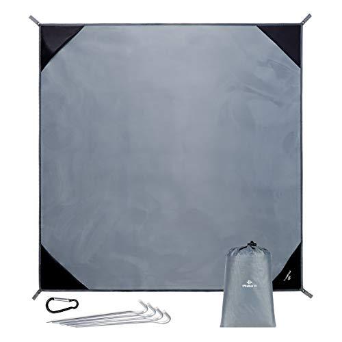 PHILORN Grande Manta de Picnic Esterilla de Playa(250×250 cm) con 4 Estacas Metálicas Plegable Portátil Impermeable Ligero para Viajar, Acampada (Gris, 250 x 250 cm)