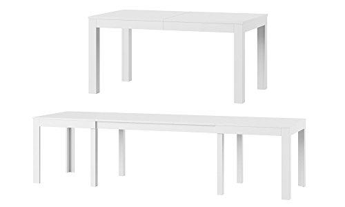 MPS groß praktisch Tisch WENUS 160-300x90x76cm Weiß Matt 4-12 Personen Esstisch mit ausziehbarer Tischplatte auf 300 cm