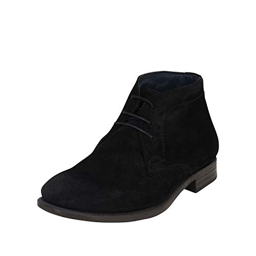Cafe Moda Herren Schnürhalbschuh Lucien Leder halbhoher Ankle Boot aus Wildleder mit Blockabsatz (44 EU, schwarz)