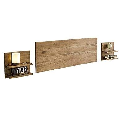 El cabecero y mesitas vienen preparados para colgar en la pared Acabado madera maciza pino encerado Medidas cabezal: 155 x 60 x 2 cm Medidas mesitas: 45 x 45 x 2 cm