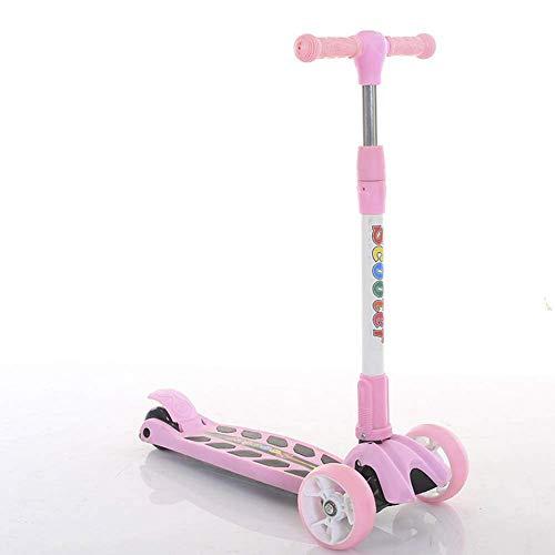 Kyman 3 Ruedas Kick Scooter Plegable Ajustable Asas Calle Patinete con luz LED hasta Ruedas for Niños Niñas Edad 3-6, de inclinación y Giro, 110.23lbs Carga máxima (Color : Pink)