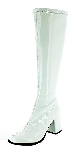 Das Kostümland Gogo Damen Retro Lackstiefel - Weiß Gr. 39 - Tolle Schuhe zur 70er 80er Jahre Disco Hippie Mottoparty