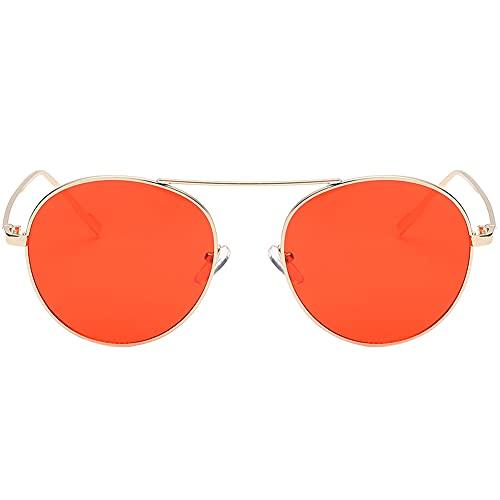 Yellowsomes Gafas de sol de moda para mujer con marco redondo retro de metal gafas de sol accesorio regalo-197478