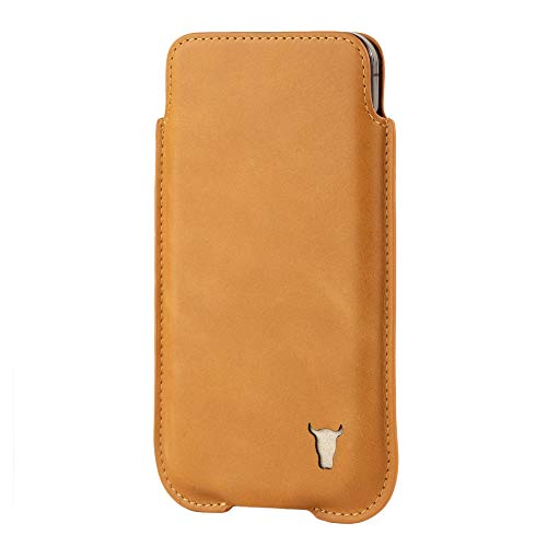 TORRO Funda Calcetín Compatible con Apple iPhone 12 Pro MAX - Estuche de Cuero Genuino de Calidad [Perfil Delgado y Ligero] (Marrón Claro)