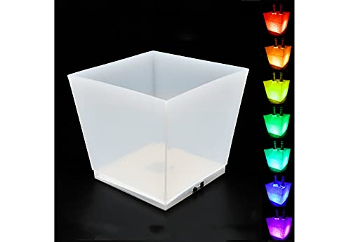 Eiskübel Beleuchtet - Eiskühler 10 L - Großer LED Sektkühler Eckig - Weinkühler - Edler Blickfang bei Jeder Party - Schönes Geburtstagsgeschenk,7color
