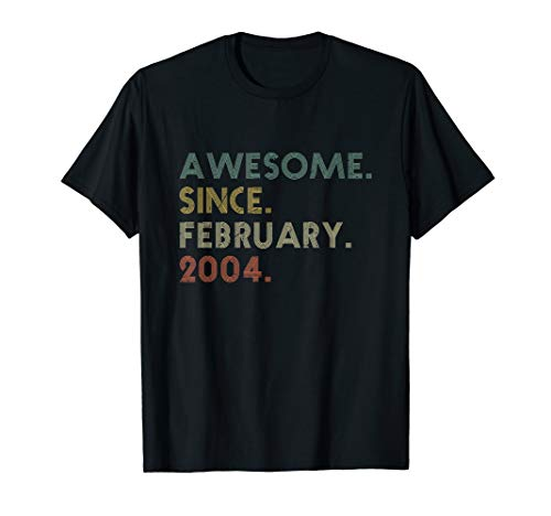 Awesome Since February 2004 T-Shirt Gift For 16 Years Old T-Shirt