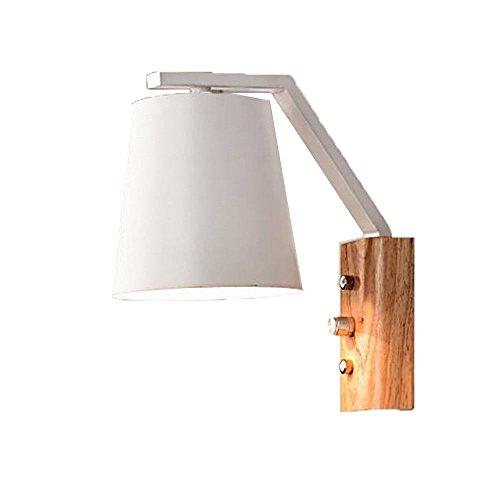Pouluuo Lit en bois massif lit lecture lampe en bois étude salon TV mur lumière LED/noir