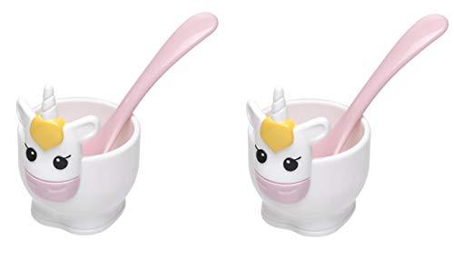 Joie Kitchen Gadgets 67025 2 Stück Einhorn-Eierbecher und -löffel, plastik
