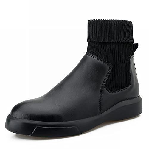 RHJK Invierno De 2021 para Hombre, Nuevas Botas Chelsea De Estilo Británico, Zapatos De Cuero De Negocios Mantener El Calor Y Los Calcetines a La Mod Black-38 EU