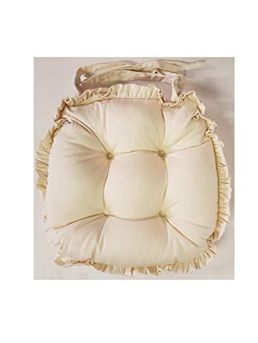 Juego de 4 cojines de silla de sarga, extra gruesos y gruesos de alta calidad, estilo vintage con volantes, fundas 100% algodón a elección de color de tinte profundo crema