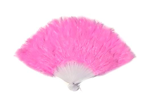SACASUSA Pink Feather Hand Folding Fan for Dance, Decoration, Halloween costume15x9.5inch