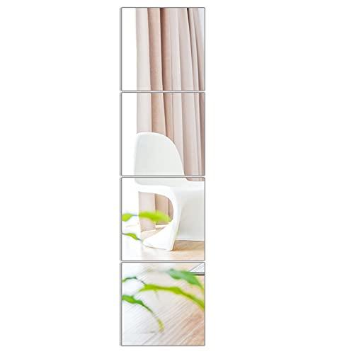JIABEIUS 4 pegatinas de pared de espejo, azulejos de espejo HD autoadhesivos, sin marco, espejo de longitud completa, fácil de instalar, para dormitorio o baño, decoración de pared (26 x 26 cm)