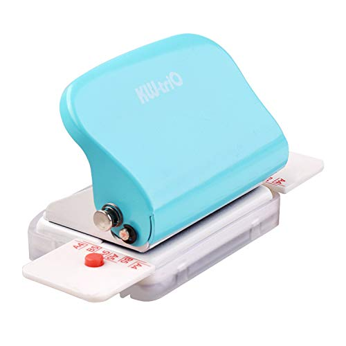 SQWAN Metal 6 Hole Punch, Portable Handheld Hole Puncher, Daily Paper Puncher for A4/A5/B5 Size, Loose Leaf Hole Punch, 5 Sheet Capacity (Green)