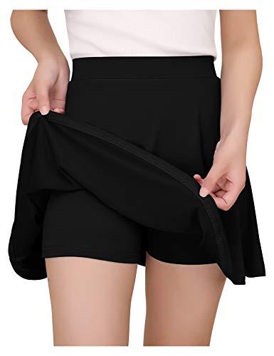 YOYAKER Damen Mädchen Basic Dehnbaren Informell Mini Skater Rock mit Shorts Black M