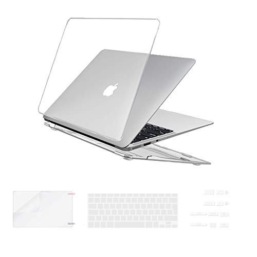 i-Buy Hard Shell Case Cover Compatible with MacBook Air 13 inch A1369 A1466 (2010-2017 Release) + Keyboard Cover + Screen Protector +  Dust Plug - Crystal Clear