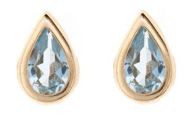 9ct gold March (aquamarine) birthstone rubover stud earrings. Gift box