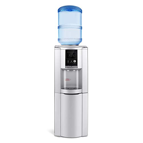 Water Cooler Dispenser 5 Gallon Top Load, 3 Temperatures Hot Cold & WARM Water Dispenser Freestanding with Storage Cabinet and Child Safety Lock LED Display