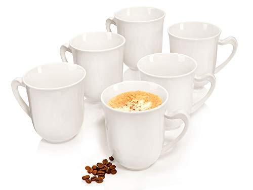 Sänger Kaffeebecher Set Paris aus Porzellan 6 teilig - Füllmenge Becher 450 ml - Festliches Geschirr bestehend aus 6 Kaffeetassen in französicher Optik - erweiterbar