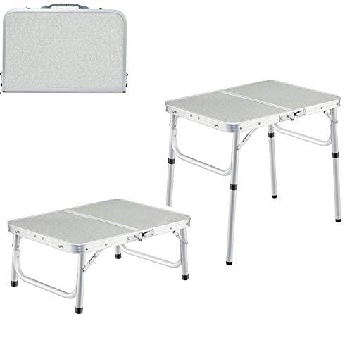 Mesa plegable portátil con altura ajustable, mesa de comedor camping plegable de aluminio duradero escritorio para comer trabajo para sofá cama exterior interior jardín barbacoa cocina (1 pieza)