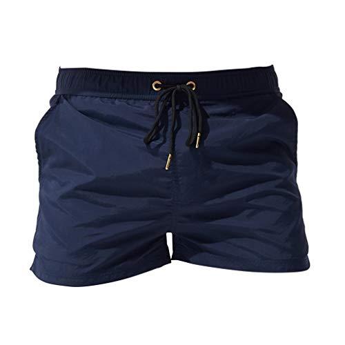 Xmiral Badehose Herren Verstellbarem Kordelzug Elastisch Taille Boxer Strandhosen Schnelltrocknend Plus Größe mit Tasche(z Marine,XS)