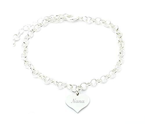 SanaBelle Nana Personalised Engraved Name Heart Charm Link Bracelet