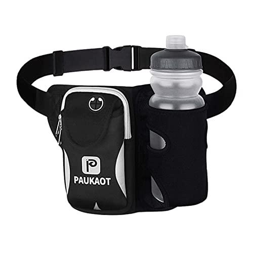 ZHOUSAN Deporte Running Bolsas con 500 ml botella de agua cintura bolsa hombres mujeres Fanny Pack camping senderismo bolsa correr cinturón para teléfono bolsillo