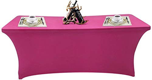 SEPARO Spandex Table Cover Fitted Rectangular Tablecloth Stretchable Fabric Lycra Tablecloth 4/6/8 ft Wrinkle-Free for Party Dj Tradeshows Banquet Weddings Cocktail