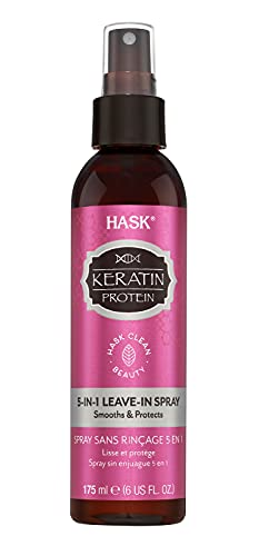 HASK Keratin Protein 5-in-1 Leave-In Conditioner Smoothing for All Hair Types, Color Safe, Gluten/Sulfate/Paraben Free, White