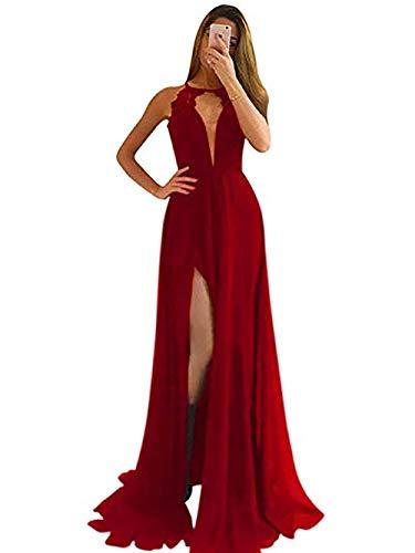 ANFF Damen Abendkleid mit hohem Ausschnitt und Schlsselloch vorne, Chiffon, lang, Schlitz, sexy offene Rckseite, formelle Abendkleid - rot - 32