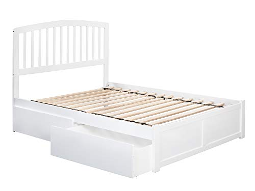 Atlantic Furniture Richmond Platform Bed with 2 Urban Bed Drawers, Full, White
