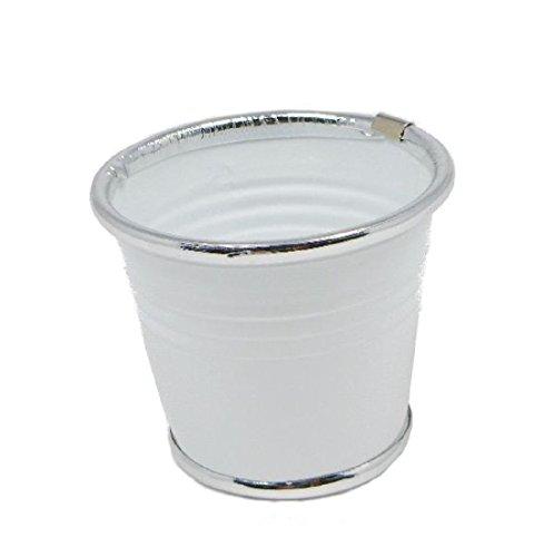 Bellaflor Lot de 6 marmites en métal avec Bordure argenté/Blanc 10 x 8 x 7 cm