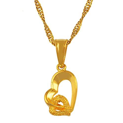 Collar Con Colgante Pequeño Pequeño En Forma De Corazón Cadena 18 '/ 24' Golden Love Romance Mujer Chica / Regalo Exquisito