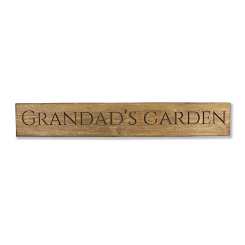 Personalised Engraved Wooden Garden Sign - Ideal Present for Grandad/Dad/Christmas Also House Sign/House Name Size: 60 x 9.5 x 2cm