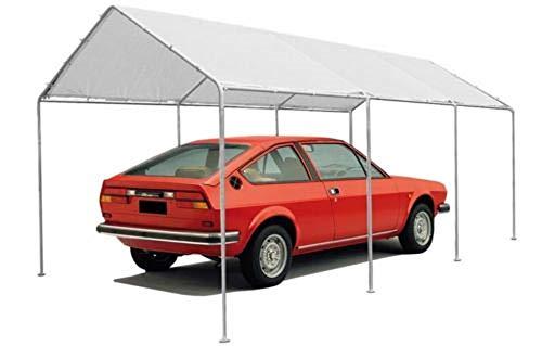 Megashopitalia Gazebo per Auto Garage Box Parcheggio da Esterno 3x6MT in Acciaio Impermeabile Bianco