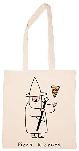 Enigmae Pizza Magician Old Wizzard Reutilizable Compras Tienda de Comestibles Algodón Bolsa Reusable Shopping Bag