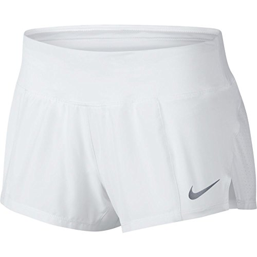 Nike Women's Crew Running Short (White/Reflective Silver, Large)