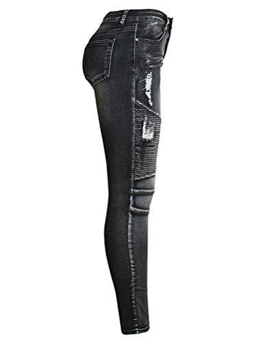 IDEALSANXUN Womens Skinny Ripped Jeans for Womens Biker Stretch Tapered Leg Jeans(Black, 10)