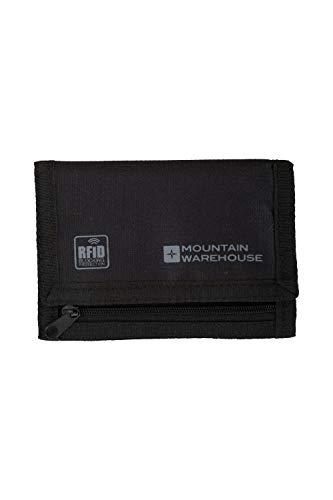 Mountain Warehouse Porte-Feuille Sécurisé RFID - léger, Lavable, Blocage RFID avec 6 Compartiments - Idéal pour Voyager Noir Taille Unique